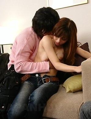 Mikoto tasting a stranger's cock