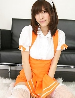 Mana Mizuno in fishnets shows hot ass in kinky uniform