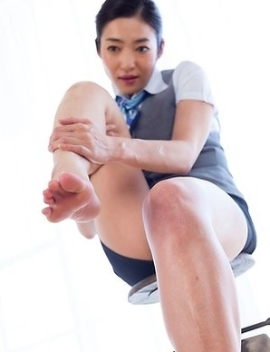 Uniformed beauty Enami Ryu takes off her sexy heels to tease you in POV