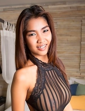 Busty thai babe in black lingerie