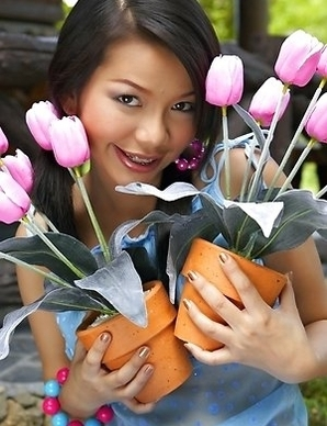 Chelsea Yung is truly a tulip fan, because the smell of those flowers is giving her desire to masturbate.