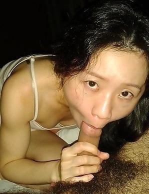Korean GF sucks cock and gets jizzed on