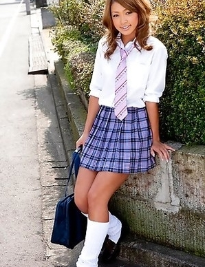 Rumika doll in school uniform has such appetizing behind