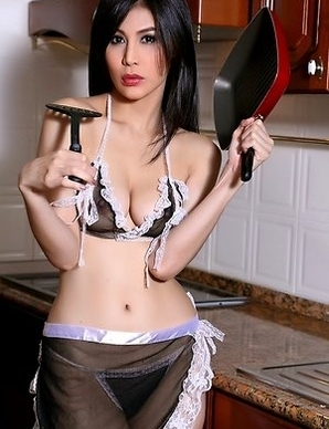 Hot Asian Maid Natalie Wang spreading her pussy on kitchen