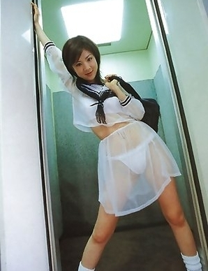 Aki Hoshino is so hot in short skirt and see through outfit