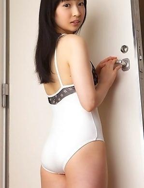 Kotone Moriyama rubs her vagina in bath suit of chair edge