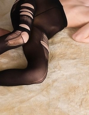 Black pantyhose babe Ayaka Mikami gets her feet and legs fucked on the floor