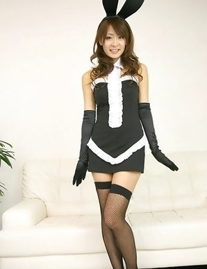 Yuki Aikawa with fishnet stockings and ears is hot bunny