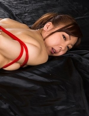 Bondage beauty Mio Yoshida gives a great handjob before getting tied up