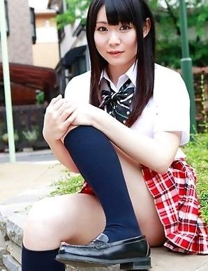 Sayaka Otonashi shows ass and beaver under school uniform